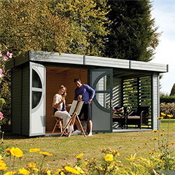 Small Image of Rowlinson Connor Leisure Chalet / Summerhouse Painted Cabin in Grey