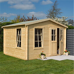 Small Image of Rowlinson Garden Retreat Log Cabin in a Natural Finish