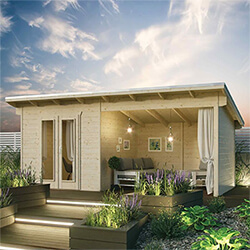 Small Image of Rowlinson Oasis Garden Cabin in a Natural Finish