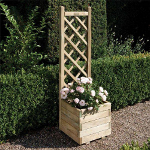 Small Image of Square Timber Planter with Lattice