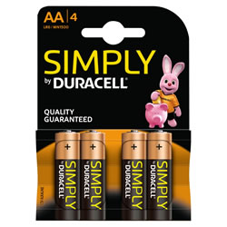 Small Image of Duracell AA Size Batteries - Pack of Four