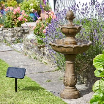 Image of Solar Powered Water Feature - Kingsbury Bird Bath