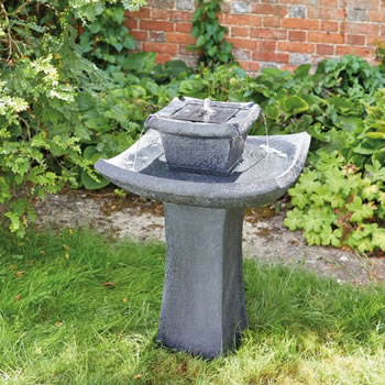 Image of Solar Powered Water Feature - Pagoda Bird Bath