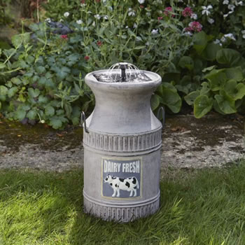 Image of Solar Powered Water Feature - Milk Churn