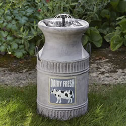 Small Image of Solar Powered Water Feature - Milk Churn