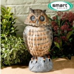 Solar Powered Owl Spotlight With Moving Head - Brown