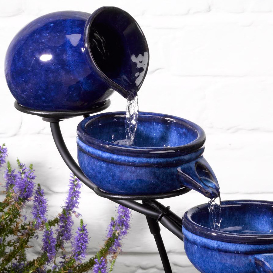 Solar Neptune Blue Cascade Water Fountain 163 69 99