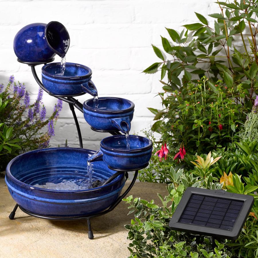solar neptune blue cascade water fountain garden4less uk shop. Black Bedroom Furniture Sets. Home Design Ideas