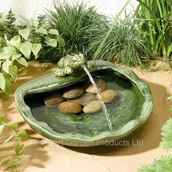 Image of Solar Powered Water Feature - Ceramic Frog