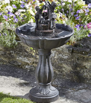 Image of Solar Powered Water Feature - Tipping Pail Bird Bath