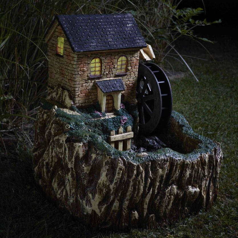 Extra image of Solar Powered Water Mill Fountain With Light