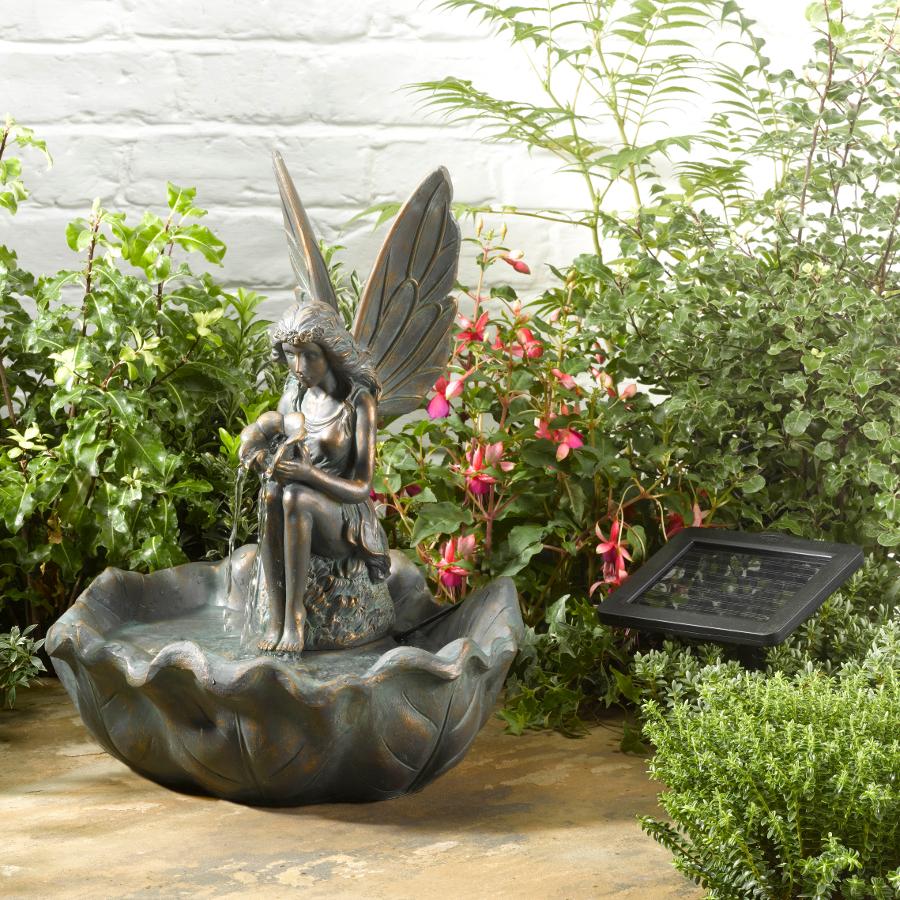 Solar Powered Fairy Leaf Fountain - £59.99 | Garden4Less ...