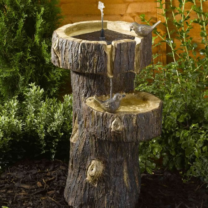 Extra image of Solar Power Tree Trunk Birdbath