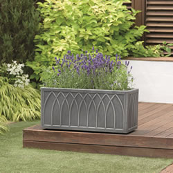 Small Image of Stewart Versailles Trough Planter in Pewter - 70cm