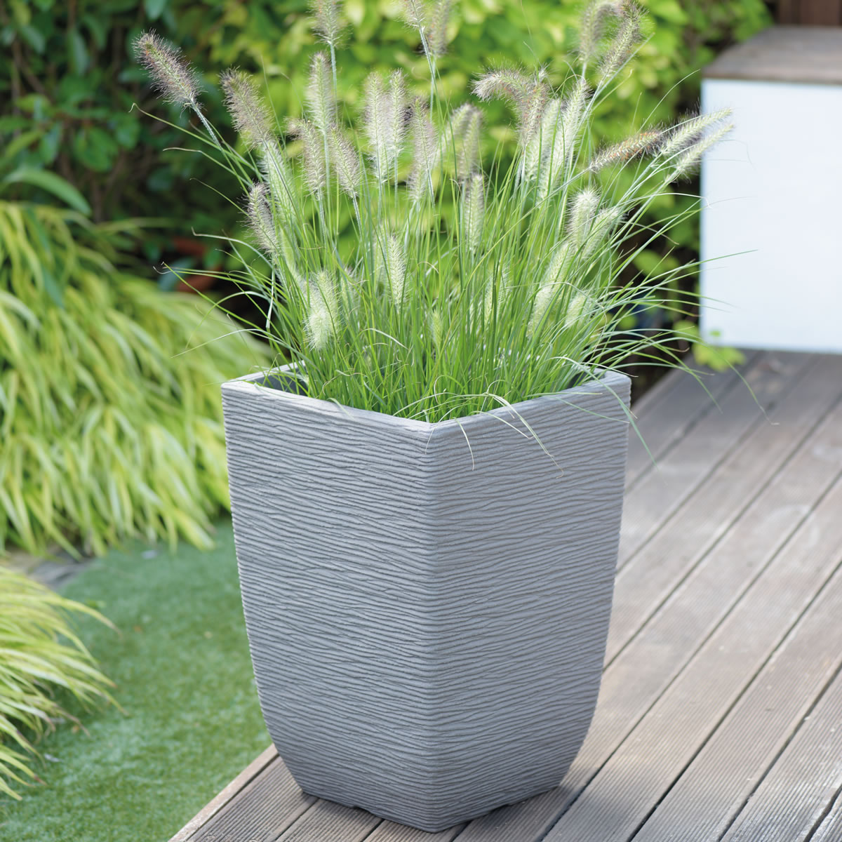 Extra image of Cotswold Tall Square Planter - 33cm - Limescale Grey