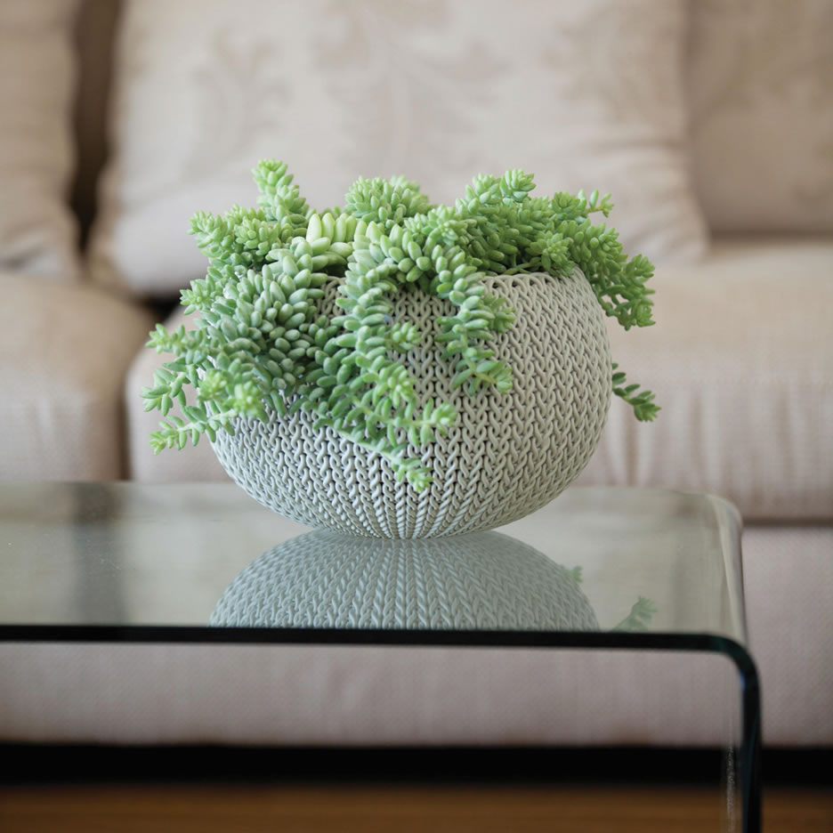 Image of Knit Cozies Decorative Planter in Cloudy Grey  - 28cm