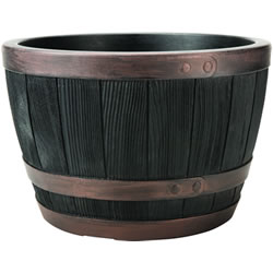 Small Image of Blenheim Black Oak & Copper Effect Half Barrel Planter - 40cm