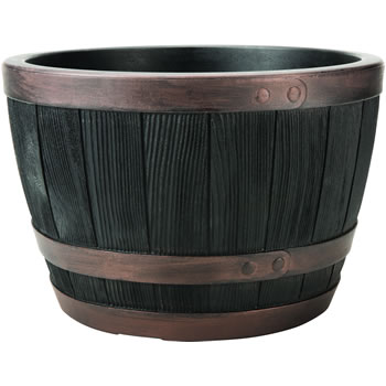 Image of Blenheim Black Oak & Copper Effect Half Barrel Planter - 40cm