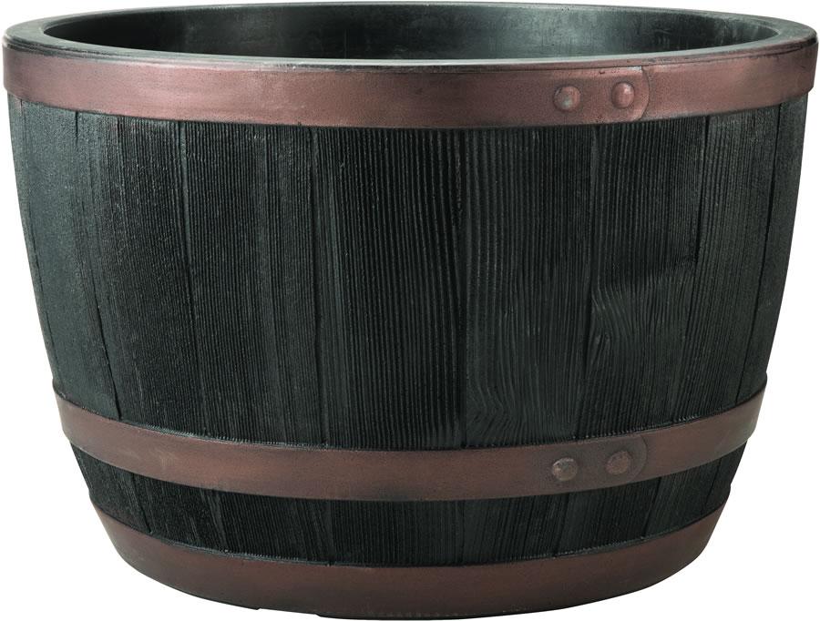 Blenheim Black Oak Amp Copper Effect Half Barrel Planter