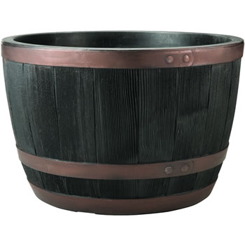 Image of Blenheim Black Oak & Copper Effect Half Barrel Planter - 61cm