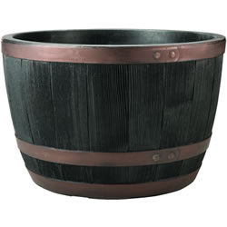 Small Image of Blenheim Black Oak & Copper Effect Half Barrel Planter - 61cm