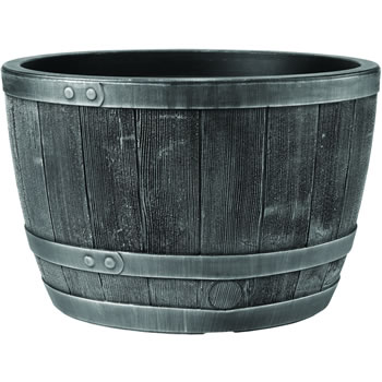 Image of Blenheim Black Oak & Pewter Effect Half Barrel Planter - 61cm