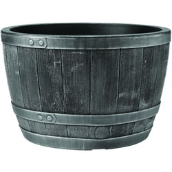 Small Image of Blenheim Black Oak & Pewter Effect Half Barrel Planter - 61cm