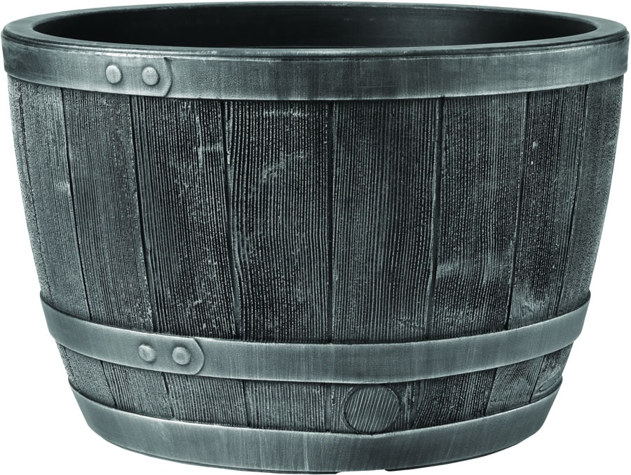 Blenheim Black Oak Amp Pewter Effect Half Barrel Planter