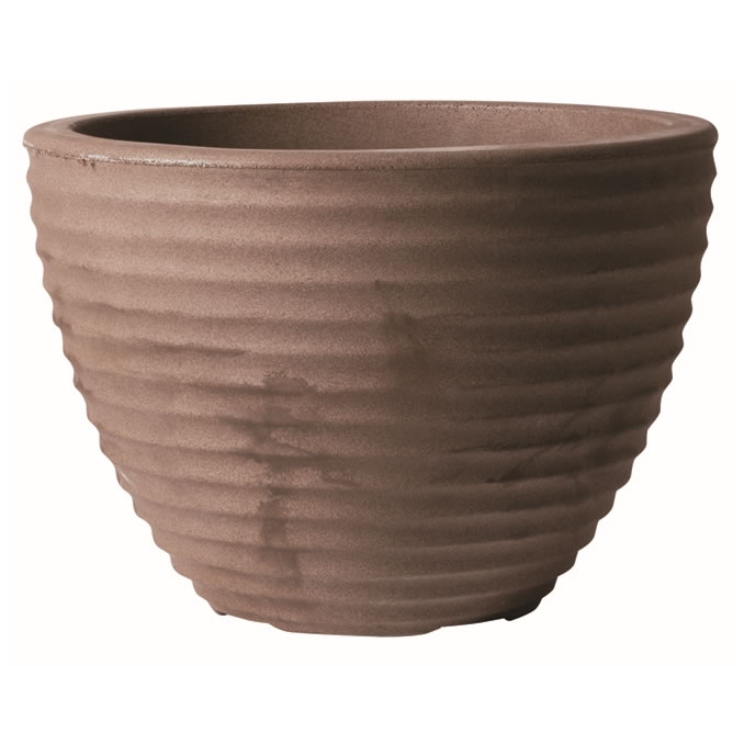 Image of Low Honey Pot Decorative Planter in Dark Brown - 37cm