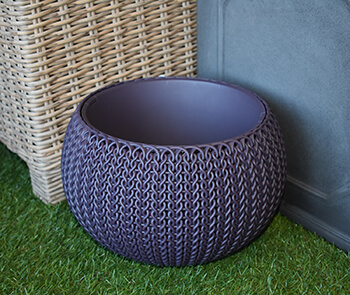 Image of Knit Cozies Decorative Planter in Smoked Purple - 28cm