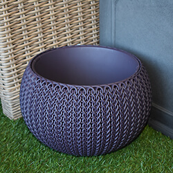 Small Image of Knit Cozies Decorative Planter in Smoked Purple - 28cm
