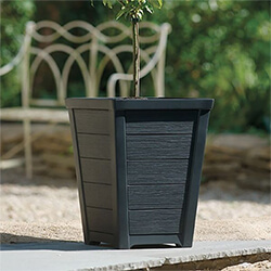 Small Image of Stewart 31cm Taper Low Planter in Anthracite