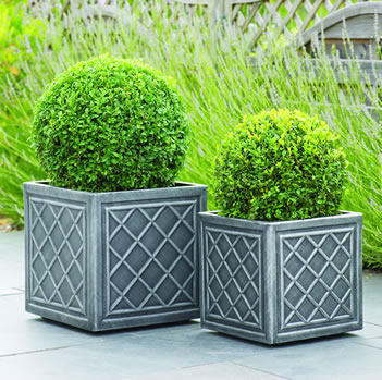 Image of Lead Effect Square Planter - 38cm
