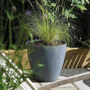 Image of Stewart 40cm Low Round Beton Planter in Dark Grey