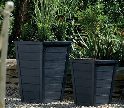 Image of Stewart 36cm Taper Tall Planter in Anthracite