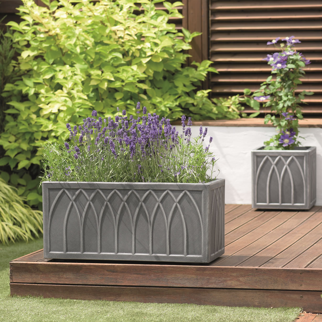 Extra image of Stewart Versailles Square Planter in Pewter - 32cm