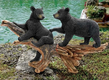 Image of Mischievous Bear Cubs Resin Garden Ornament by Design Toscano