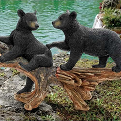 Small Image of Mischievous Bear Cubs Resin Garden Ornament by Design Toscano