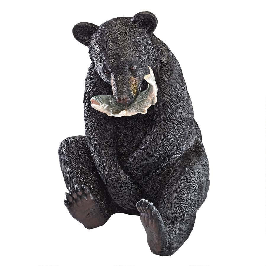 Extra image of Black Bear with Fish Resin Garden Statue by Design Toscano