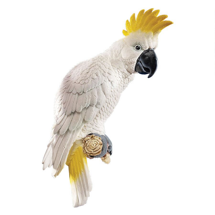 Extra image of Citron Cockatoo Resin Garden Ornament by Design Toscano