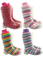 Kids Clear Transparent Wellington Boots with Free Stripey Welly Socks