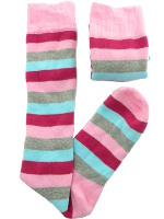 Small Image of Pink Grey Blue Stripes Ladies Welly Socks