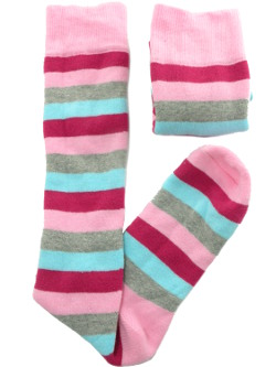 Image of Pink Grey Blue Stripes Ladies Welly Socks