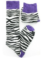 Small Image of Black and White Ladies Zebra Print Welly Socks
