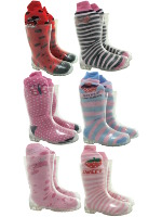Kids Clear Transparent Wellington Boots with Free Girls Welly Socks