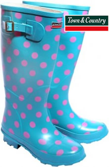Image of Town and Country Turquoise Spotty Wellies