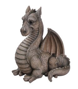 Image of Grey Winged Dragon - Resin Garden Ornament