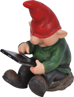 Image of Playful Gnome Son With Leafpad - Resin Garden Ornament