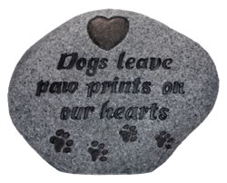 Image of Dogs Leave A Paw Print Memorial Plaque - Stone Effect