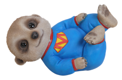 Image of Baby Meerkat Laying - Resin Garden Ornament